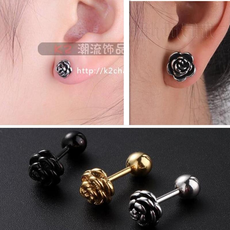 HOT Stainless Steel Earrings For Women fashion Gold black flower stud Earring Black Male vintage Studs Best Jewelry Gift unisex