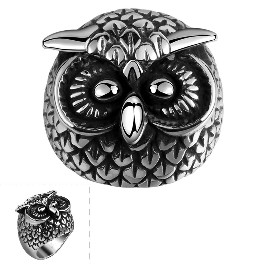 Hot Sale Exquisite Peculiar Shape Owl Ring Fashion Titanium Steel Ring Size  8 9 10 11