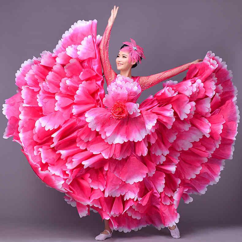 Новый летний открытие танец полный юбке платье костюмы для выступлений костюм для взрослых танцевальная юбка женская сценическая юбка в форме лепестков Dres