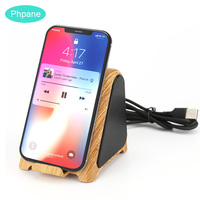 Wood Bluetooth Bleutooth Wireless Speakers With QI Wireless Charger Cool Music Soud Bar Box Bloototh Retro Speaker for Iphone XR