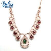Bolaijewelry, вечерние ожерелье и кулон натуральный изумруд и родолит Карен 925 стерлингового серебра fine jewelry девушку обручальное подарок