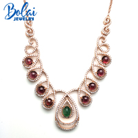 Bolaijewelry,party necklace &pendant natural emerald and rhodolite garen 925 silver sterling fine jewelry woman engagement gift