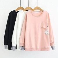 Jumping Cat Sweatshirt Women Pullover Sweatshirt Cat Printed Loose Blouse Coat Fake Two Pieces Women Sweatshirt Round Collar