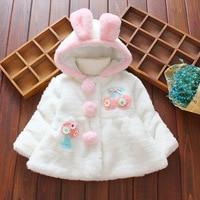 Baby Girls Fur Coat Kids Clothing Flower Autumn Winter Baby Coats Thicken Kids Outerwear Children Faux Fur Cute Rabbit Jackets