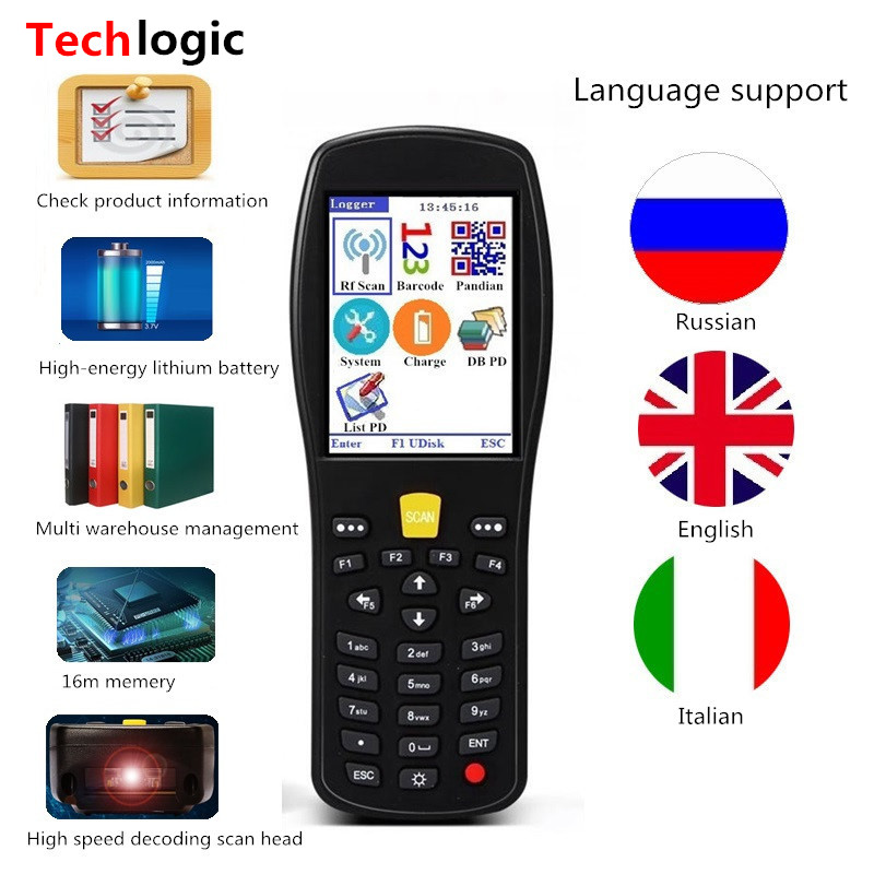 Techlogic X9 2D QR PDF417 Barcode Scanner 1D 2D Wireless Barcode Scanner Handheld Terminal PDA Wireless Bar Code Reader Bar Gun