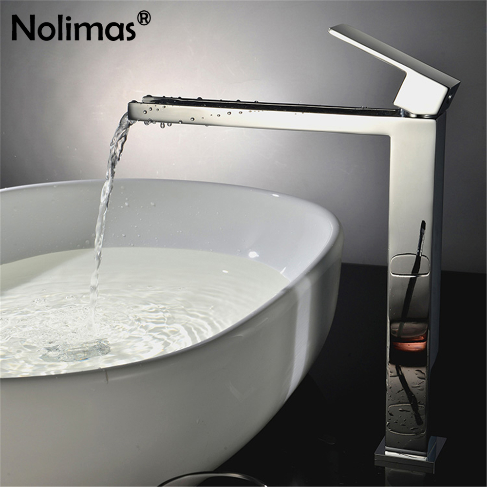 New Arrivals Chrome Waterfall Faucet Tall Bathroom Faucet Brass Ceramic Plate Spool Basin Mixer Tap With Hot And Cold Water new arrivals chrome waterfall faucet tall bathroom faucet bathroom basin mixer sink tap with hot and cold sink faucet