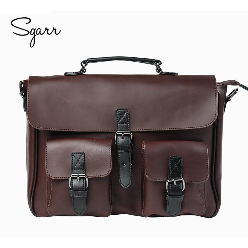Crazy Horse PU Leather Men's Briefcase Vintage Men Messenger Bags Shoulder Bag Men Business Handbags Contract Bags Laptop Bag