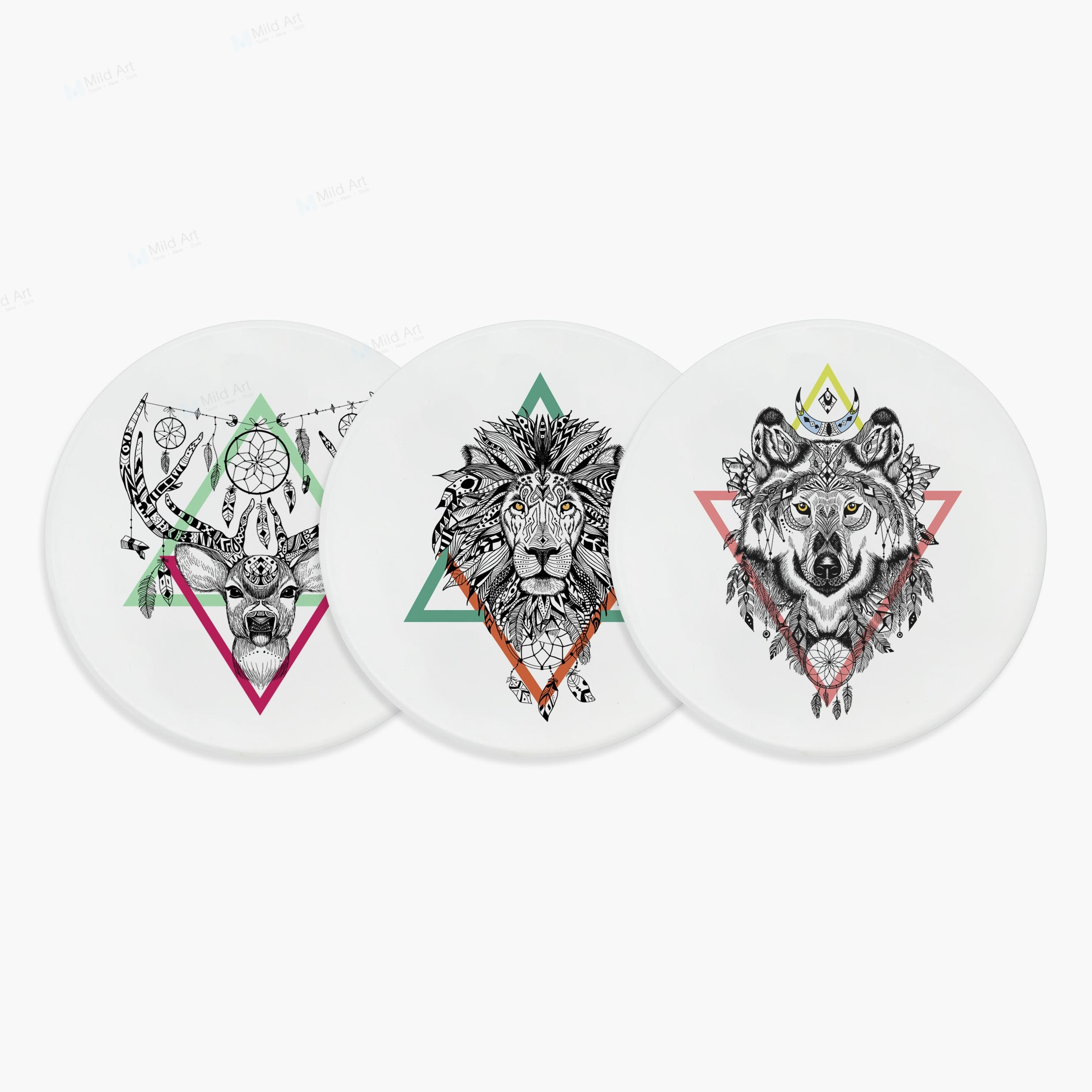Indian Animals Tattoo Deer Lion Owl Wolf Cool Design Geometric Ceramic Bar Coaster Gift Creative Kitchen Accessories Pad Mat Set