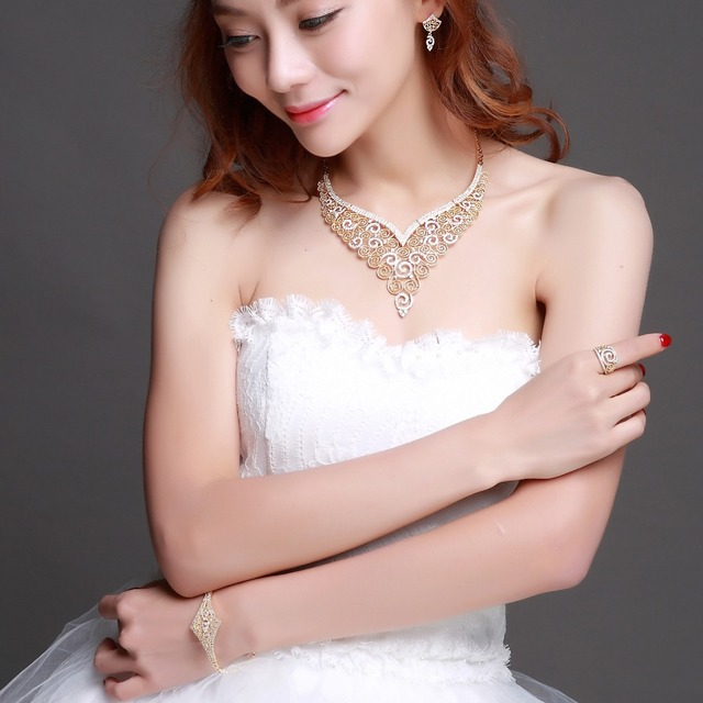 Large 4pcs Jewelry sets of Necklace+Earrings+Bracelet+Ring! Gold/ Rhodium Plate CZ Stones! 4pcs Jewelry Sets for Wedding