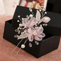 Bridal hair accessories high quality Handmade pink lace flowers hairpin handmade pearl jewelry vintage crystal hairpins