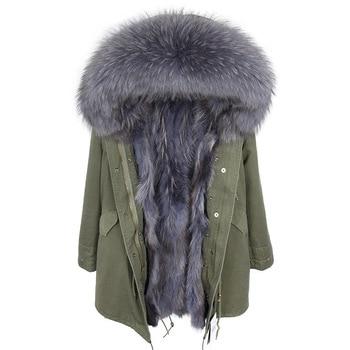 1ddd85e7a94 OFTBUY зимняя куртка Для женщин натуральным мехом пальто Длинная парка  верхняя одежда парки натуральный мех енота
