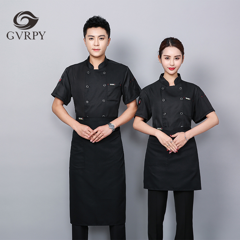 New Pockets With Standard Double-breasted Short-sleeved Chef Uniform Pizza Hot Pot Shop Buffet Men And Women Waiter Work Shirt