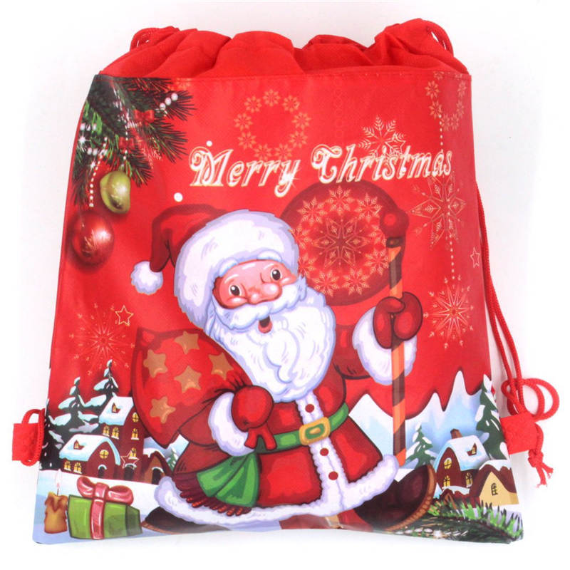 Santa Claus Drawstring Bags Kids Favors Non-Woven Fabric Backpack Birthday Event & Party Supplies Travel Storage Package 1PCS