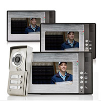 7 inch Color LCD Video Door Phone Doorbell Home Entry Intercom System 3 Monitor 1 Metal Camera Night Vision for 3 Family