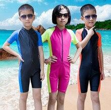 a3d57fa5c SURF TERNO de Proteção solar para Crianças swimwear Garoto maiô Criança  maiô Criança Rash Guard Wetsuit Roupa de Mergulho de Pra.