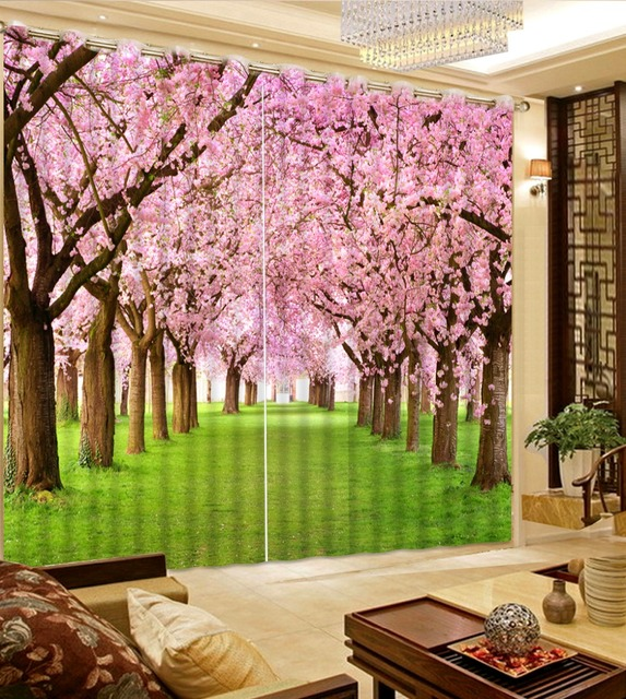 3d curtain Custom any size flower window curtains pink scenery ...