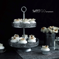 SWEETGO 2 tiers cupcake stand Vintage silver cake decorating tools for dessert bakeware Kitchen& bar