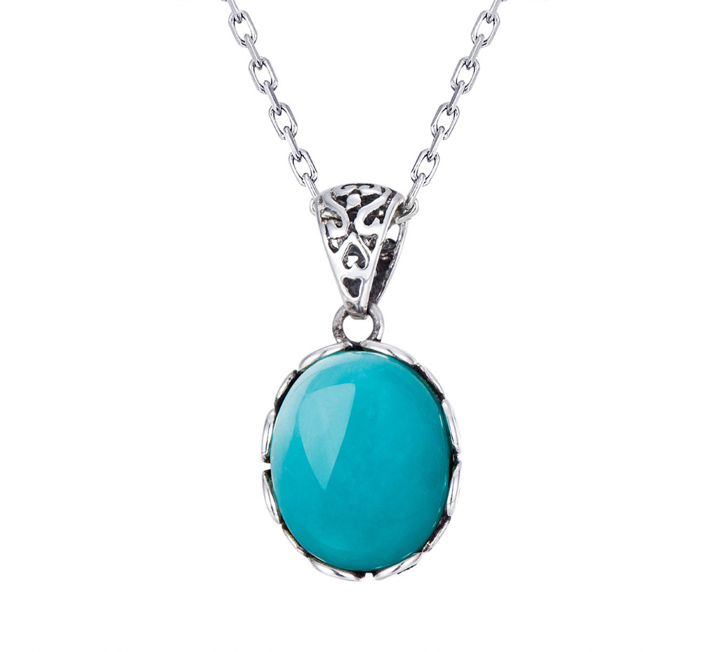 Antique Jewelry Natural Amazonite Pendant 9*11MM- Handmade Silver Locket-Sterling Silver 925-Oval Shape Necklet-Gift for Lovers