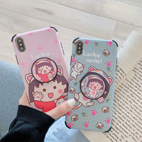 Cute cartoon Sakura TPU Soft Phone Case Cover For iPhone 6 6s 7 8 Plus X Xs MAX XR Ring Stand Holder Capa 10pcs