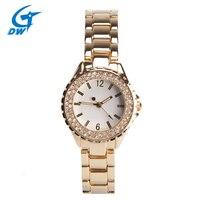 DWG Black Friday Relogio Feminino Marca Top Diamante Bling Do Aço Inoxidável Relógio de Vestido Das Senhoras Pulseira Relógio de Ouro Rosa para As Mulheres