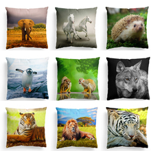 New Animal World Series Cushion Cover Polyester Cotton Cute Hedgehog Penguin Tiger Home Decorative Pillow Cover