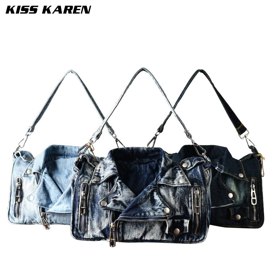 ФОТО KISS KAREN Vintage Fashion Denim Women Bag Jeans Women Shoulder Bags Cowboy Handbags Women's Crossbody Bags Satchels Lady's Bag