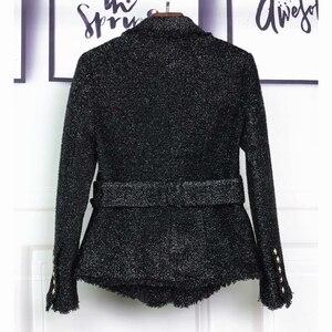 Image 3 - HOHE QUALITÄT Neue Mode 2020 Herbst Winter Designer Blazer Jacke frauen Silber Glitter Schnürung Gürtel Blazer Mantel