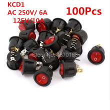 цена на 100Pcs/Lots KCD1 SPDT NO/OFF Red Light Rocker Switch AC 250V/6A 125V/10A