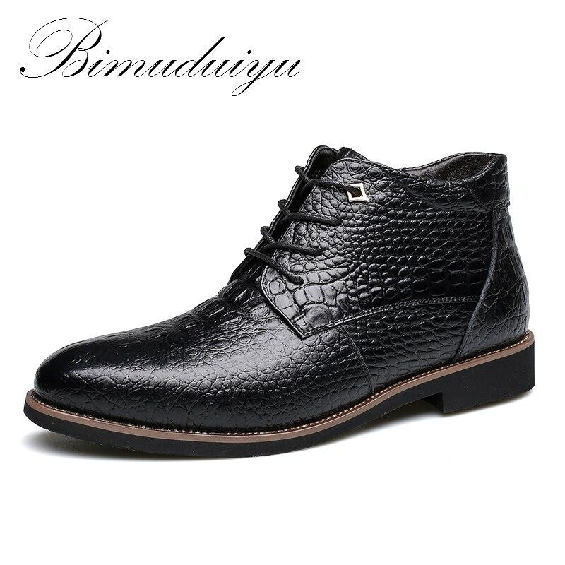 BIMUDUIYU Brand New Winter Fashion Crocodile Style Men Leather Boots Super Warm male Winter Shoes Waterproof