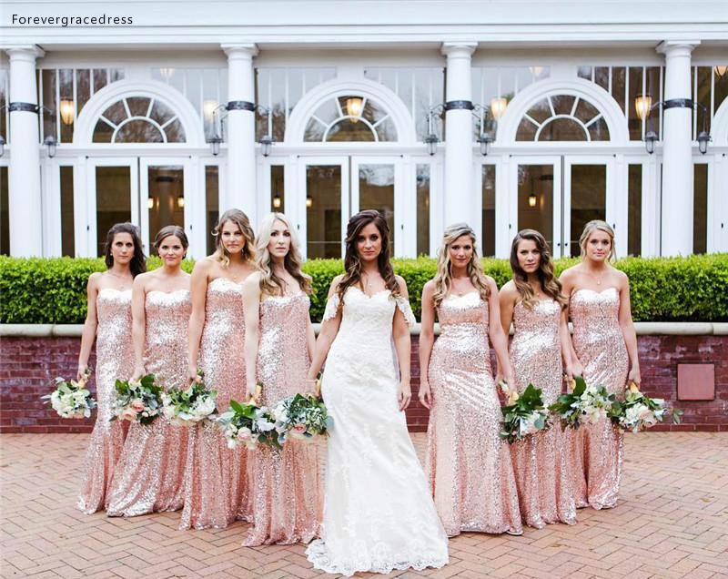 New Design Sequined Bridesmaid Dresses 2019 Sweetheart Summer Country Garden Formal Wedding Party Guest Maid Of Honor Gowns
