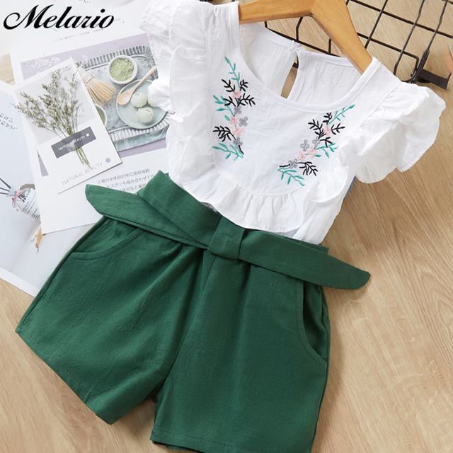 Melario Clothing Sets 2019 Children Clothing Sleeveless Bow T-shirt+Print Pants 2Pcs for Kids Clothing Sets Baby Girl suit