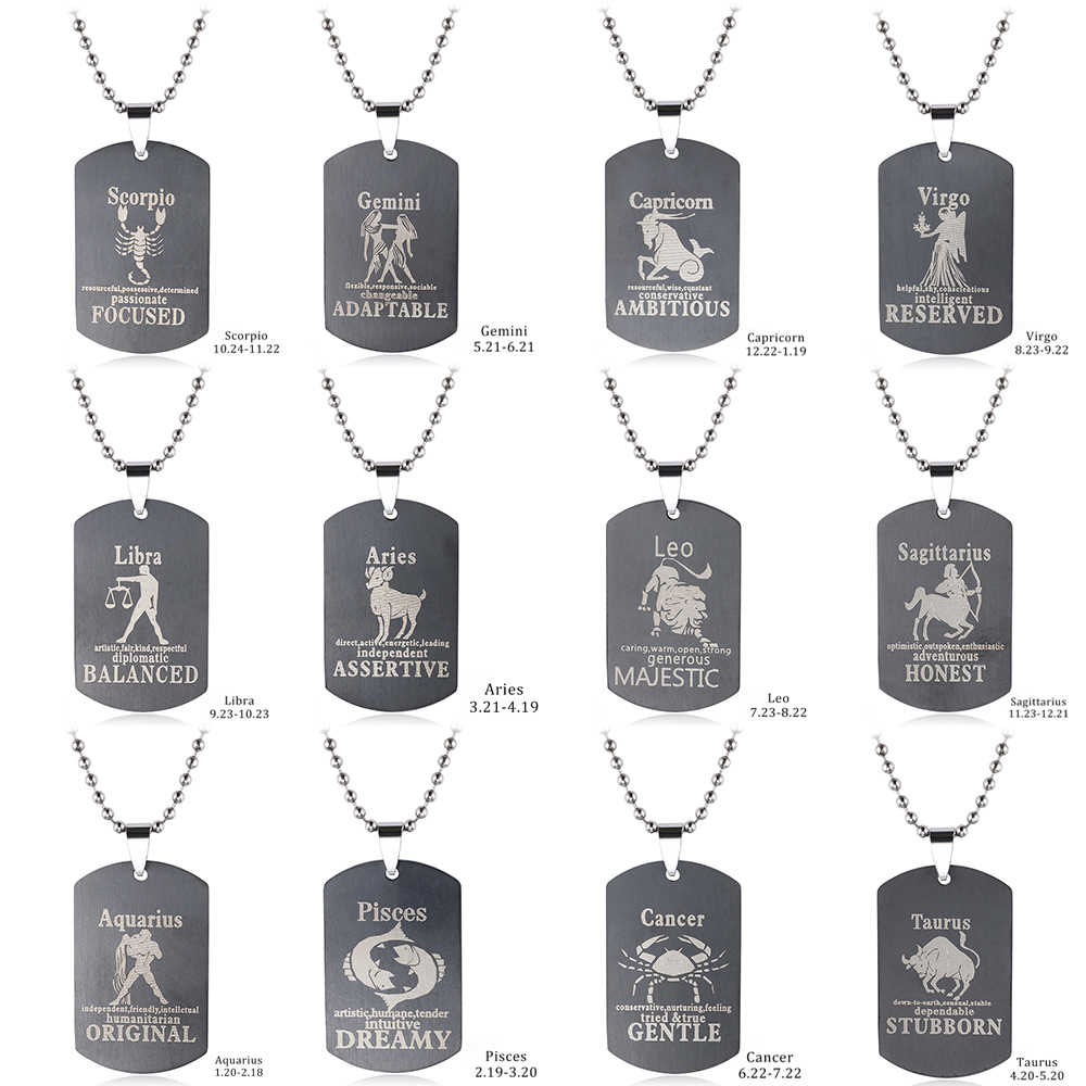 2019 new 12 Constellations Pendant Amulet Stainless Steel  Zodiac Dog Tag Pendant  Bead Chain Men's Women's lucky Necklace Gift