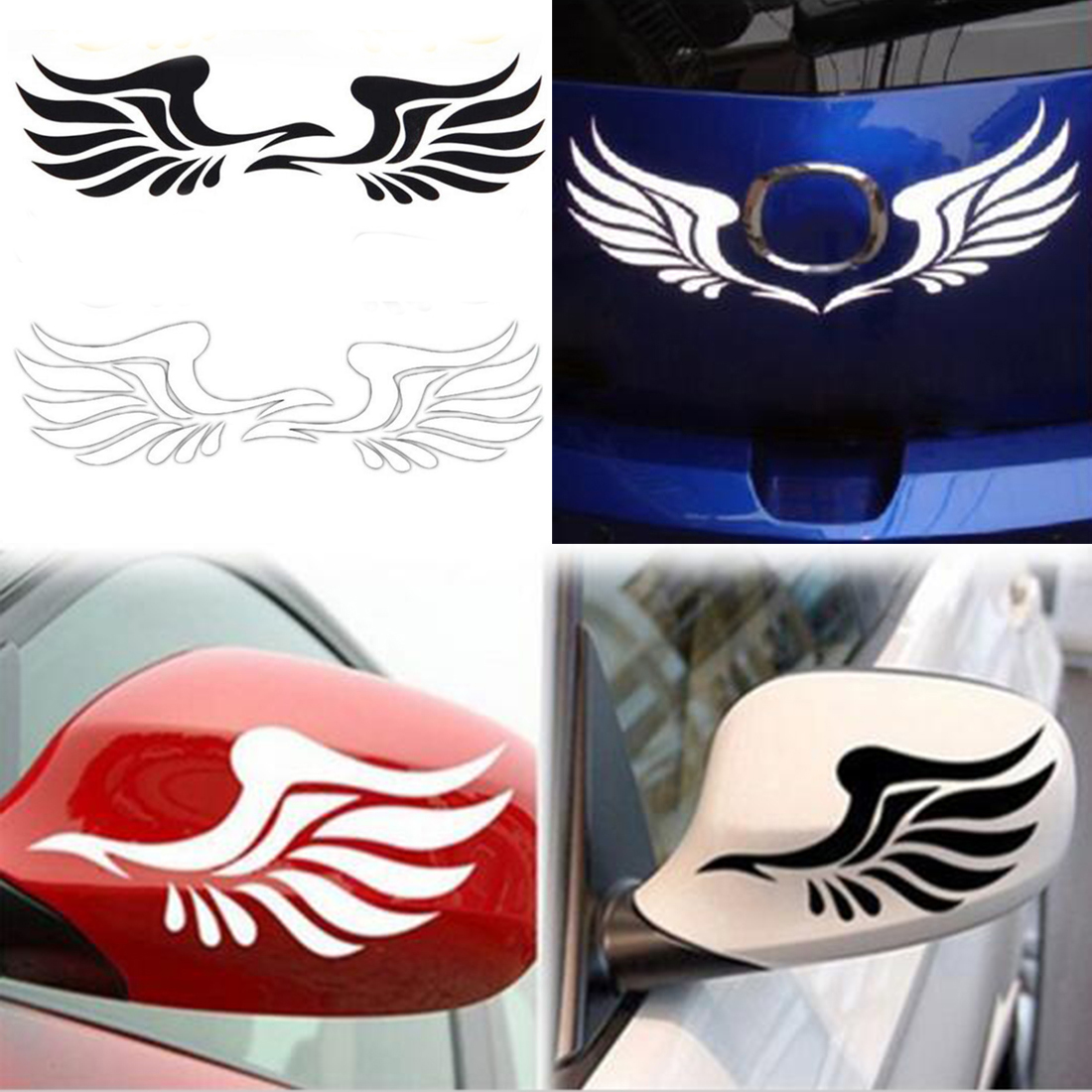 Car mirror sticker design - 2pcs New Design Personality Fire Wings Side Mirror Car Stickers Decorative Stickers Car Styling Free Shipping