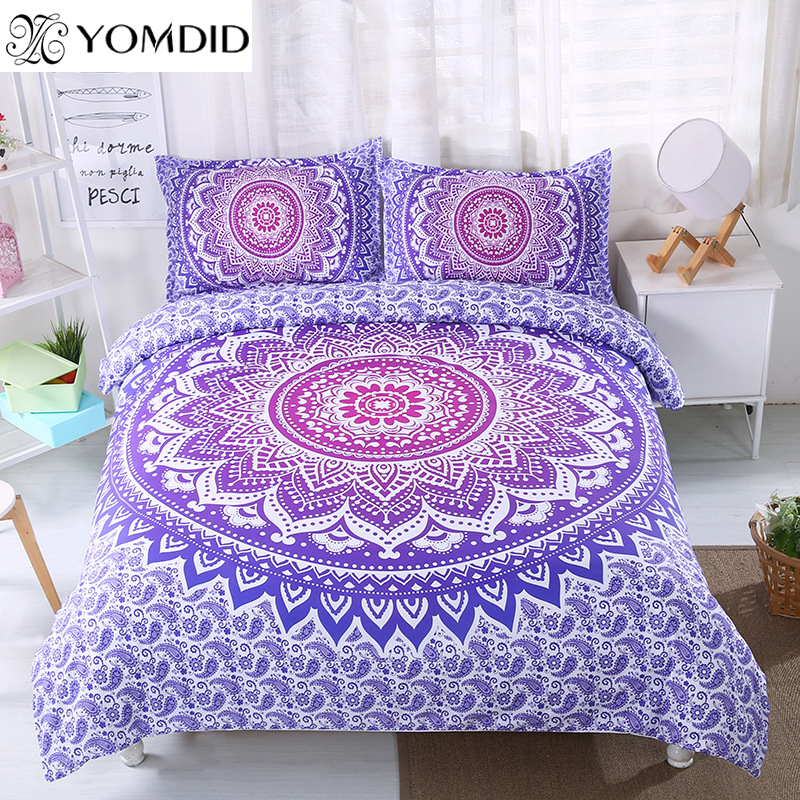 Mandala Flower Bedding Set Twin Full Queen King Size 3pcs Floral Pattern Duvet Cover Pillowcase Set Bohemian Bedclothes Bed Set