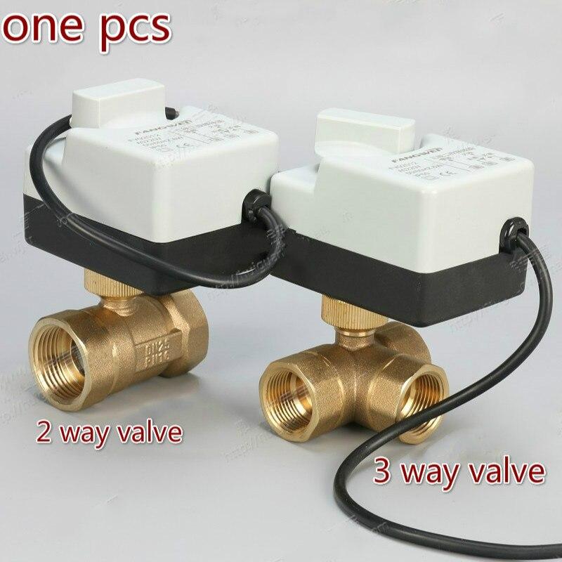 AC220v 2 voies 3 voies en laiton motorisé vanne à boisseau sphérique actionneur électrique en laiton vanne à boisseau sphérique électrique DN15 DN20 DN25 DN32 DN40
