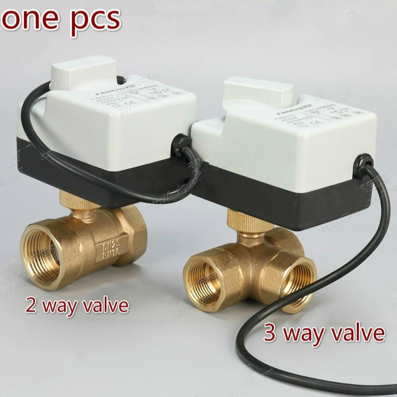 AC220v 2 Way 3 Way Brass  Motorized Ball Valve Electric Actuator Brass Ball Valve  Ball Valve Electric DN15 DN20 DN25 DN32 DN40