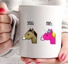 Emoji tazas taza del unicornio (2 lados) tazas de café taza divertida unicornio caballo tazas de té tazas para novia novio marido esposa