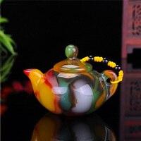 Natural Xinjiang Hetian jade pot teapot Kung Fu tea pottery jade teapot hand play pieces