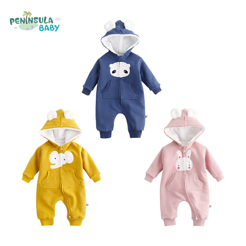 Newborn Infant Baby Girl Boy Clothes Cute Animal Rabbit Baby Jumpsuit Warm Winter Rompers Long Sleeves Outdoor Cotton Clothes lemonmiyu cotton baby rompers long sleeve newborn pajamas animal print infant boy girl one piece spring autumn baby clothes