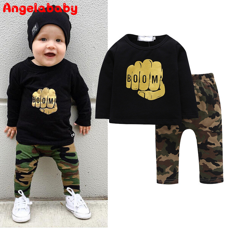 Camouflage 2018 Newborn Baby Boy Toddler Clothes Set T Shirt Tops Long Sleeve Pants Cotton Outfits Set Clothing baby boy clothes monkey cotton t shirt plaid outwear casual pants newborn boy clothes baby clothing set