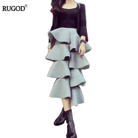 Big Ruffled Design Layer Skirts Women 2018 Spring Long Ruffle Skirt High Waist Space Cotton Fashion Autumn Elastic Saia Longa