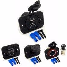 DIY Módulo de Panel de 1 Agujeros de Adaptador de Corriente 5 V 2.1A Cargador USB, Tomas para Encendedor de cigarrillos, Voltímetro para Coche Del Carro de La Motocicleta Boat ATV