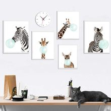 Baby Animal Deer Zebra Poster and Print Modern Nursery Canvas Painting Nordic Wall Art Picture For Kids children Bedroom decor(China)