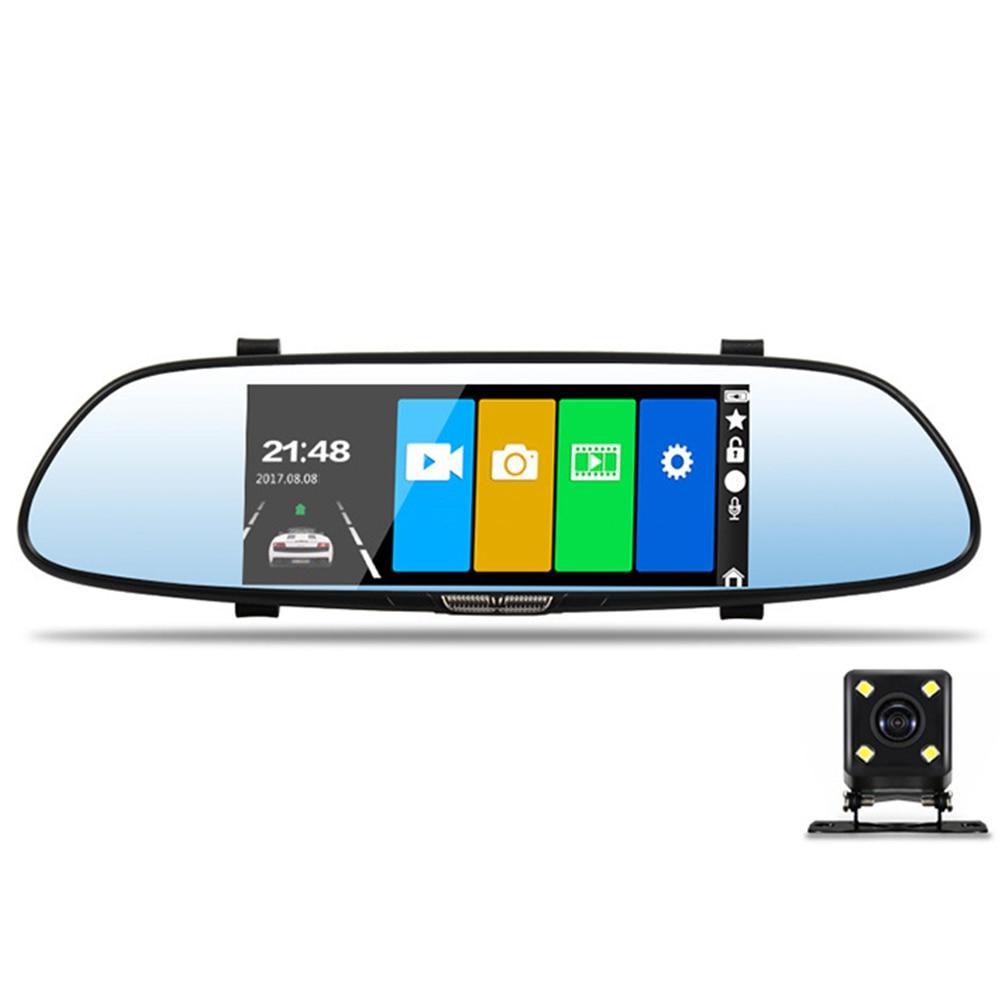 Full HD voiture DVR caméra 7 pouces voiture DVR Dash Cam avant et arrière miroir caméra enregistreur vidéo double lentille caméscope
