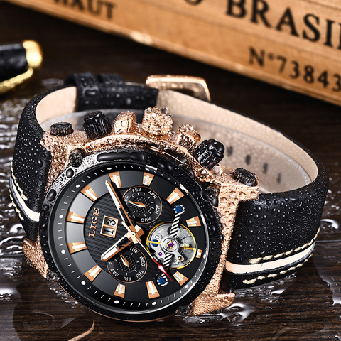 LIGE Fashion Men Watch Top Brand Luxury Automatic Mechanical Watches  Men Casual Leather Waterproof Sport Tourbillon Watches Islamabad
