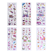 6 sheets set Bubble Stickers 3D Cartoon Hello Kitty Animals Cat Classic Toys Scrapbook For Kids
