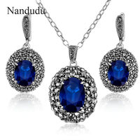 Nandudu Retro Marcasite Jewelry Set Blue Crystal Pendant Necklace Earring White Gold Plated Chain Fashion Jewelry