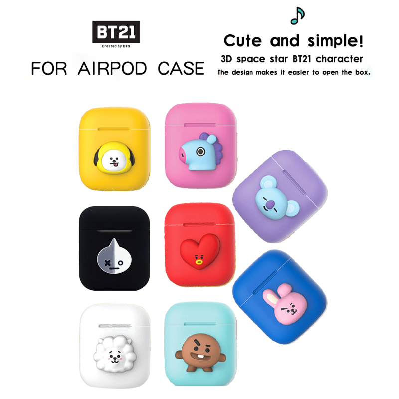 8efb3f78f92 BTS BT21 Silicone Bluetooth Wireless Earphone Case for Apple Airpods  Charging Box For AirPods Protective Cover Skin Accessories