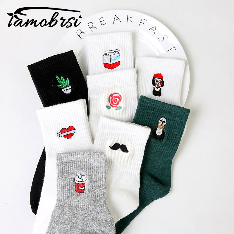 Korean Harajuku Funny Cartoon Black White Short Sock Novelty Women Milk Box Beard Rose Heart Radio Embroidery Cotton Ankle Socks