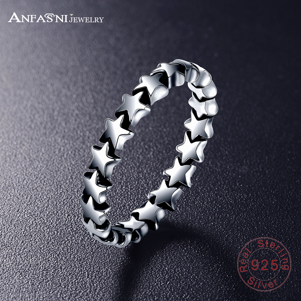 ANFASNI 2017 European style Radiant Elegance Silver Rings with Clear CZ 100% 925 Silver Stars Ring Compatible Jewelry PSRI0008-B